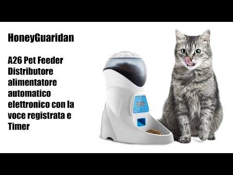 Distributore alimentatore automatico HoneyGuaridan A26 Pet Feeder