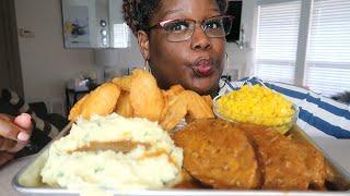 SOUL FOOD MUKBANG + RECIPE MEATLOAF FRIED CHICKEN MASHED POTATOES CORN