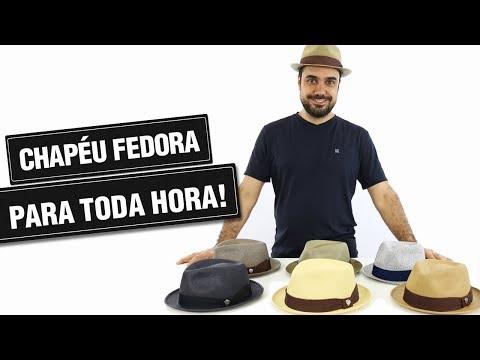 cfde42898e0ba Chapéu Fedora Aba Curta Masculino Algodão - R  106