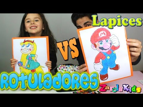 ROTULADORES VS LAPICES CHALLENGE!! marker challenge Zarolakids