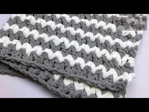 Crochet V-Stitch - Trendy Baby Blanket