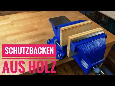 Einfache Schutzbacken aus Holz für den Schraubstock