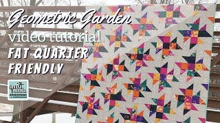 Easy Fat Quarter Quilt With Half Square Triangles And NO POINTS To Match! - Geometric Garden