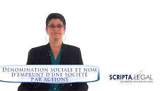 Dénomination sociale et nom d'emprunt d'une société par actions