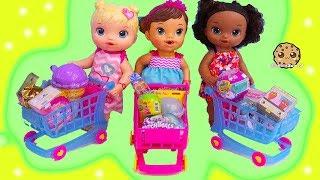 Babies Surprise Blind Bag Shopping Carts ! Cash Register + Baby Dolls