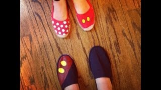 How To: DIY Disney Mickey Mouse Inspired Shoes/ Toms Tutorial (Family Disney Coordinated Outfits)