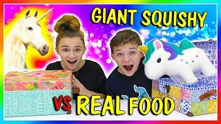 GIANT SQUISHY VS REAL FOOD SWITCH UP | We Are The Davises