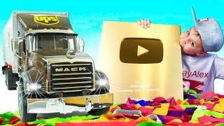 #Машинки для мальчиков Грузовик BRUDER привез Золотую кнопку - Экскаватор и Лего
