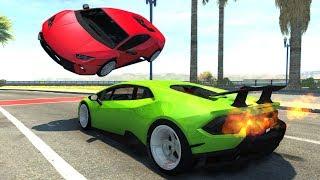 Lamborghini Huracan Drift Car Crash Testing - BeamNG Drive