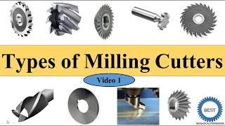 Types of Milling Cutters Plain Side End Slitting T slot Woodruff key