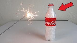 Что если кинуть бенгальский огонь в бутылку с пенопластом?