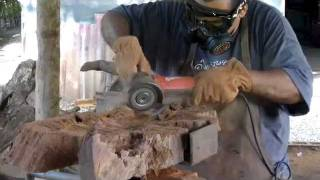 VE110821001wood Carvingmaking A Rosewood Bowlchain Saw Carving