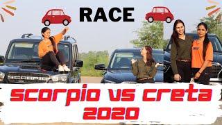 Scorpio Vs Creta2020 Speed Test Race   Girl Vs Girl   Drone   IndianRace   Black Cars   Hyundai cars