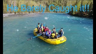 Catching the Phantom 4 while in a Raft on the Kenai River!