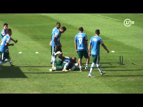 Jogadores trocam beijos na boca no meio do treino do Palmeiras