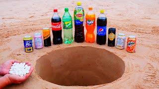 Mirinda, Lipton, Coca Cola, Fanta, RC Cola and other Popular Sodas vs Mentos Underground!