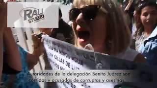 Protesta de vecinos de Benito Juárez afectados por el terremoto del 19 de septiembre de 2017