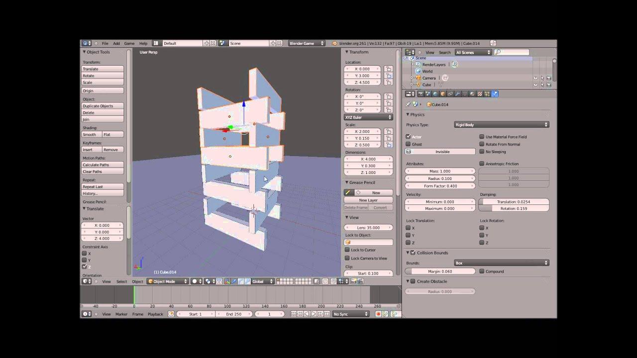 Simulation physique de type Rigid body avec blender 2.6 ( KAPLA)