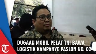 Dugaan Sebuah Mobil Berpelat TNI Bawa Logistik Kampanye Paslon 02