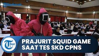 Viral Aksi Pink Soldier ala Squid Game Lakukan Penjagaan Ketat Tes SKD CPNS Kemenkumham di Surabaya
