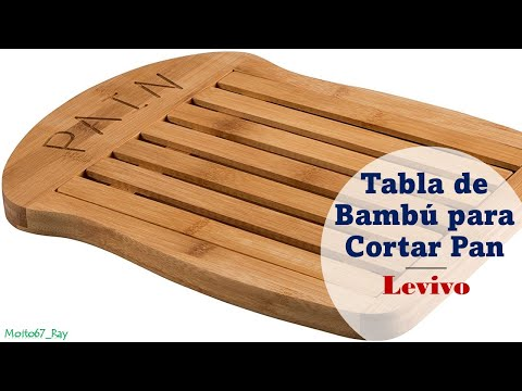 Tabla de Bambú para Cortar Pan con Rejilla para Migas, Levivo SET100178