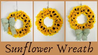Dollar Tree 🌳 Sunflower Wreath DIY 🌻 Fall Crafts Home Decor Easy To Make