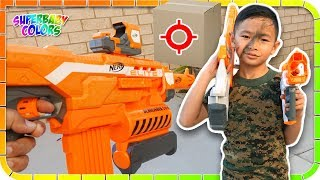 NERF DART Through A Box Challenge!!!