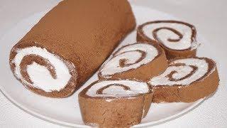Нежнейшее Лакомство к Чаю Шоколадный Рулет со Сливками