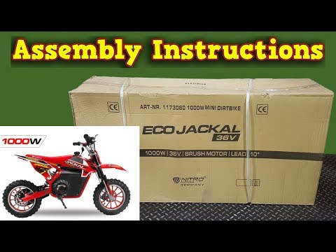 Jackal Electric Dirt Bike 1000W 36V - Unboxing - Full Assembly - Instructions