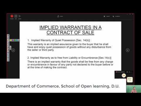 B Com 2nd Semester Part 3 of 3 Parts SALE OF GOODS ACT