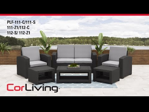 Video for Weather Beige Patio Set with Dark Grey Cushions