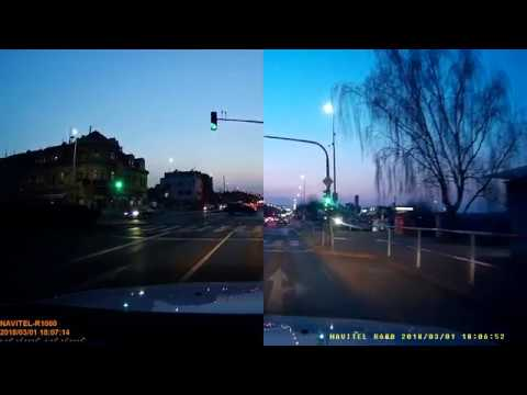 Car DVR Navitel R600 and Navitel R1000 comparsion (at sunset)