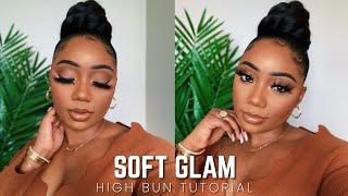 Soft Neutral Glam X High Bun | Tamara Renaye