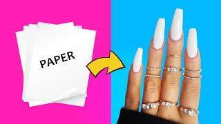 DIY - HOW TO MAKE WATERPROOF FAKE NAILS FROM PAPER AT HOME - NAIL HACK