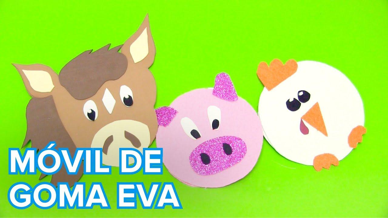 Cómo hacer un móvil de animales con goma eva | Manualidades infantiles