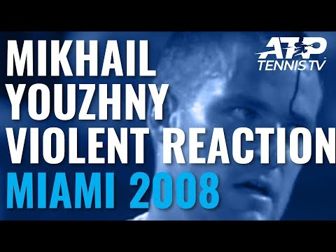 Youzhny reacts badly to losing point - hits his racquet against his head   Miami Open 2008
