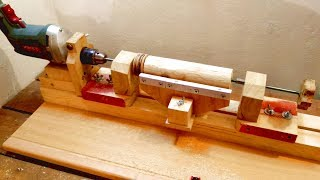 3 in 1 Homemade Lathe Machine. Part 1 - Drill Powered Wooden Lathe