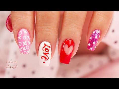 4 EZ DIY Hand Painted Valentine's Nail Art