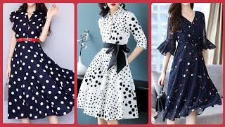 Most Classy Designer Polka Dots  Midi Dress Daytime Dress Frill Sleeve Printed Polka Plus Size Dress