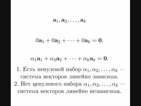 Линейная зависимость и независимость систем векторов