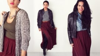 Burgundy Maxi Skirt | Lookbook