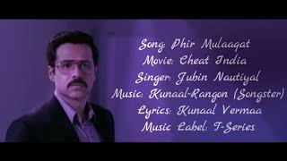 Phir Mulaaqat Full Song With Lyrics Jubin Nautiyal   - YouTube