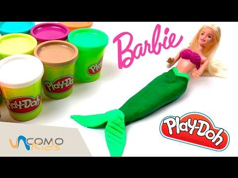 Barbie sirena con Play-Doh -  Barbie cola de sirena con plastilina