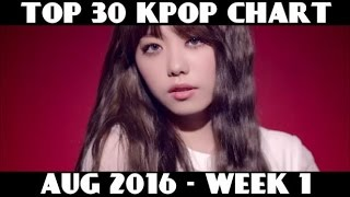 TOP 30 KPOP CHART - AUGUST 2016 (WEEK 1) (15 NEW SONGS)