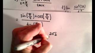 Limit Problems With Trig , Part 1
