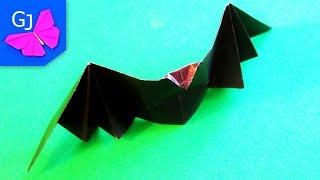 Оригами из бумаги Летучая Мышь, хлопающая крыльями на Хэллоуин