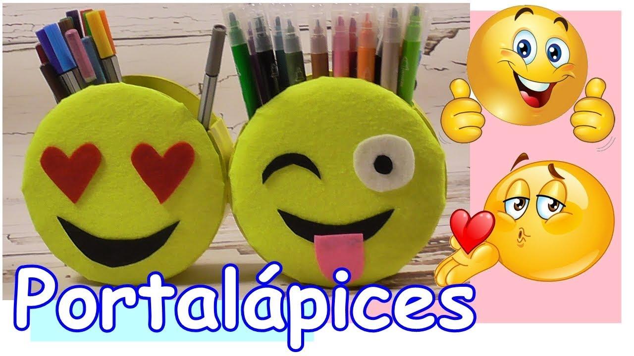 Como hacer un Portalápices de Emojis-Emoticonos con cartón.