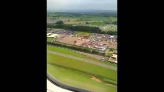 East Midlands Airport Landing over Download Festival