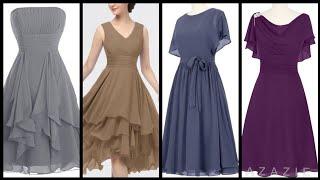 Gorgeous Beautiful Plain Chiffon Skater Dresses 2020    Amazing Chiffon Dress Ideas 2k20
