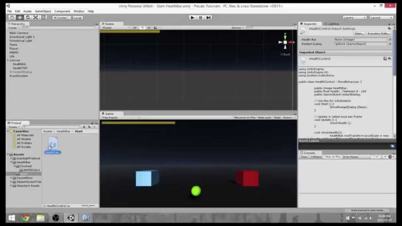 How To Make A Health Bar In Unity 5 - Tutorial Tuesdays - PixLab